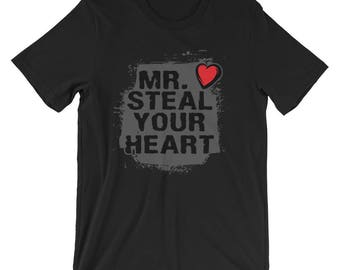 Adult Mens Valentines Day Shirt - Short-Sleeve Unisex T-Shirt - Mr. Steal Your Heart Tee