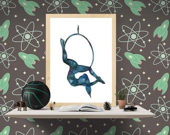 Lady Galaxy. Original watercolor art. Aerial Hoop art. Aerial dancer gift. Circus Girl galaxy art. Size: 8x11.5 inches. Aerial Lyra present.