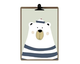 Bear A4 poster / Decoration for children / the magic caravan