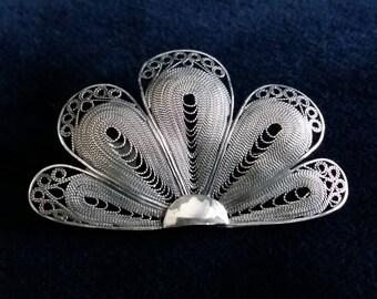 Filigree Jewelry - Fan Brooch Abanico Oscuro - Handmade Jewelry - Sterling Silver Brooch, Spanish Fan, Flamenco, Filigree Brooch, Gift Idea