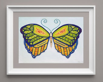 Decorative Butterfly, green, gold, pattern, transformation, wings, high quality print, 350gsm paper