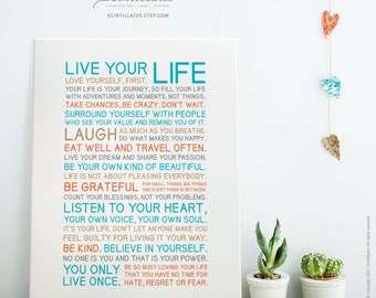 SALE up to 30% till July End — You Only Live Once — Teal – Printable Art, Motivational Poster, Printable Poster/Quote, Instant Download