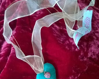 Heart shaped fabric turquoise velvet, organza Ribbon and Swarovski crystals
