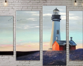 Large Wall decor 4 Panel Canvas,  Art Print on Canvas, Lighthouse , Canvas Art, Interior Art, Living Room Decor,