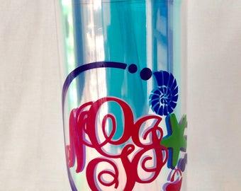 Custom vinyl water bottle,beach theme,sea shell vinyl water bottle