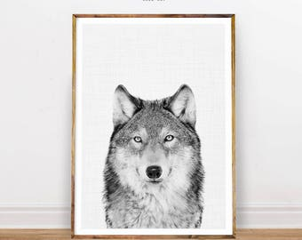 Black and White Photography, Wolf Print, Animal Print, Wolf Photo, Nursery Animal Decor, Nursery Wall Art, Nursery Decor, Digital Print