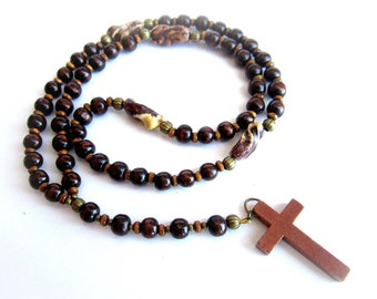 Mens wooden rosary, brown wood necklace, mens cross necklace, mens wooden necklace, brown wood rosary, men wood beaded necklace