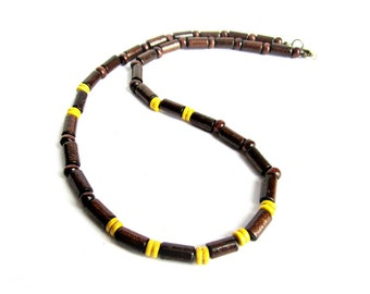 Wood beaded necklace for men brown yellow wood bead necklace mens ethnic necklace gift for him two tone wood necklace