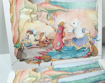 Snow White mouse watercolor greeting cards everyday or birthday card