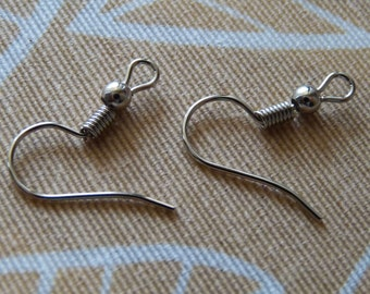 Earring Hooks, Platinum Color Earring Wires, French Hooks, Ball and Coil Ear Wires, Earring Findings, Earring Components, Earring Findings