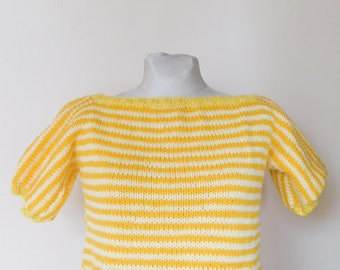 Stripped yellow and orange T-shirt.