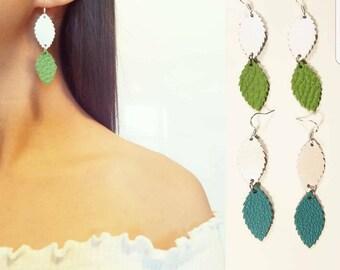 Leather sterling silver earrings, boho earrings, leaf earrings, leaf leather earrings, tribal earrings, bohemian earrings, leather cutout