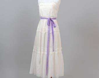 1970 Pin Tuck  Cotton Vintage Wedding Dress