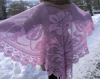 Crochet shawl for women lace shawl Pink winter shawl with lace border triangle shawl Triangle Shawl warm shawl mother's day evening shawl