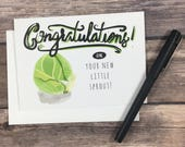 new baby card - card for baby - brussel sprout card - sprout card - cute baby card - vegetable card - chef card - foodie card - spring baby