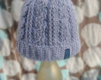 Cabled Messy Bun Beanie