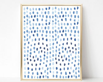 Blue Wall Art, Blue Wall Decor, Blue Watercolor Art, Minimalist Art Print,