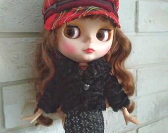 Blythe clothes Black winter fur jacket for Blythe.