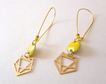 Graphic Fox, mustard yellow sequins, origami, gold earrings