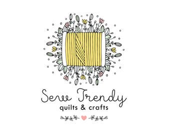 Premade Sewing Logo Shop Craft Logo Floral, Cursive Logo Boutique Logo, Logo Sewing Machine, Business Branding Custom Logo Design