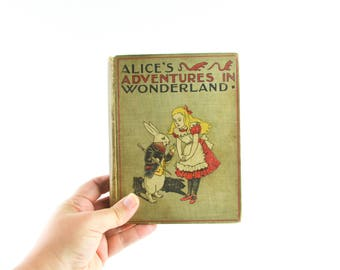 1899 Antique Alice's Adventure in Wonderland Alice Rare Book Lewis Carroll Color Illustration Illustrated John Tenniel