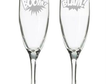Comic Book Wedding Champagne Flutes - Geeky Wedding Gift - Comic Wedding Toasting Glasses - Nerdy Bridal Shower Gift - Geek Wedding Gift