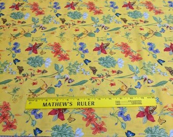 Butterflies and Flowers on Yellow Cotton Fabric