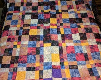 Batik Twin Size Bed Quilt