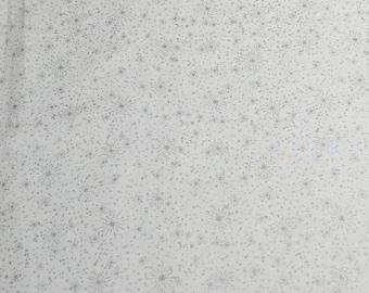 Silver Stars on White Cotton Fabric