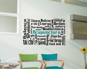 Acupuncture decal, acupuncturist decal, chinese medicine, acupuncture wall art, acupuncture, acupuncturist gift, acupuncture decor