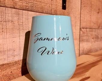Powder Coated Ozark Trail 14 oz. Stemless Wine Glass - Customized Stainless Steel Wine Glass - Personalized Wine Glass - Custom Gifts