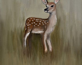 Spring Fawn, study, small oil painting