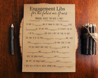 Engagement Libs . Mad Libs . Wedding Mad Libs . Bridal Shower Mad Libs . Funny Bridal Shower Game . Guest Libs . Rustic, Unique, Fun Game .