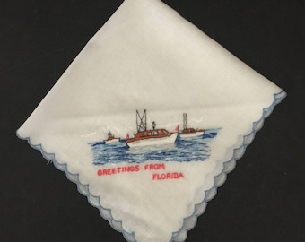 Vintage Florida State Souvenir Handkerchief Vintage Hankie Greetings From Florida