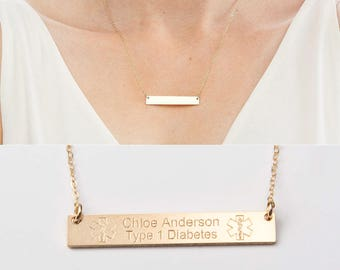 Medical Alert Necklace - Custom Medical ID Jewelry-Personalized Gold Bar-14K Gold Filled-Rose-Sterling Silver-CG287N_1.5X0.25
