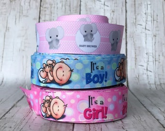 "1"" It's A Boy Baby or Baby Girl Baby Shower Nursery Party Birth Announcement Grosgrain Hairbow Ribbon  - Sold by 5 yards"
