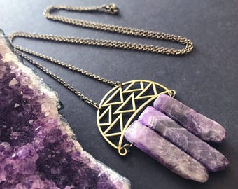 Raw Amethyst Pendant Necklace // Unique Long Necklace // February Birthstone // Long Boho Necklace // Raw Stone Necklace // Modern Necklace