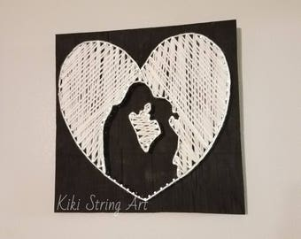 Love string art, couple string art, heart string art, shadow love sign, wedding gift, love sign, handmade decor, love couple string art