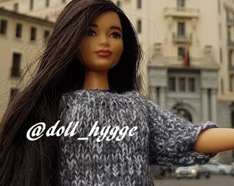 Handmade knitted sweater for curvy barbie doll