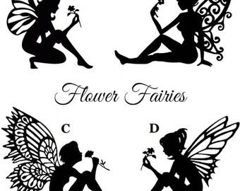 Flower Fairy Die Cut Silhouette - Flower fairy cutouts x 6/9/12. For card making, scrapbooking, fairy jar, embellishment, party bag filler