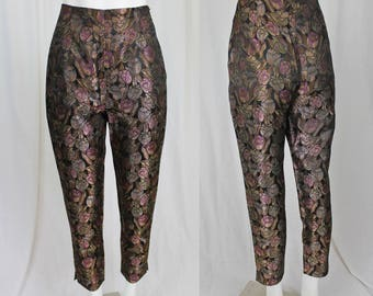 iridescent floral trousers / 90s high waist pants / M