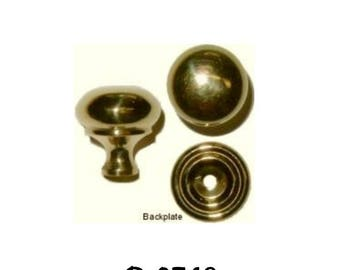 """Brass Knob - 3/4"""" Turned Polished Brass Early American Style Knob with Stamped Brass Backplate"""