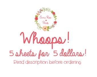 Oopsie Grab Bag!// 5 sheets for 5 dollars// Planner Stickers
