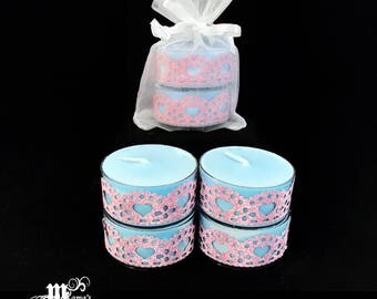 "Scented Tea Lights, Mountain Fresh Scent, Light Blue with Pink Hearts, 1.5""w x .75""h, Soy, Organza Pouch (x3), Wedding, Bride, Tables"