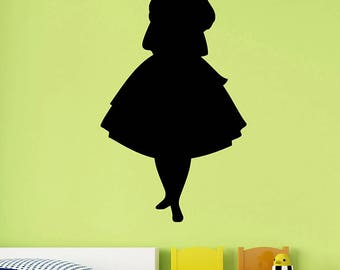 Alice Silhouette Sticker Alice in Wonderland Vinyl Decal Disney Wall Art Cartoon Fairytale Decorations for Home Kids Girls Room Decor alice4