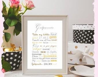 A4 Printed gift Godmother Godfather Godparents Goddaughter Godson Godchild Baptism Christening Naming Day baby poem pink blue gold Ceremony