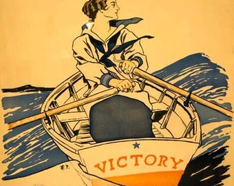 Every Girl Pulling For Victory Poster - World War I Art - Vintage Print Art - Home Decor - Victory Girls