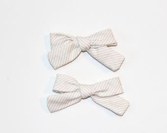 Neutral Stripe Hand-tied Pigtail Bows