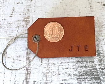 Custom, bespoke, leather luggage tag, personalised bag label, case lable, travellers, wedding gift, 3rd anniversary present, ship,