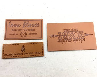 Custom brown leather patches, embossed brown leather labels